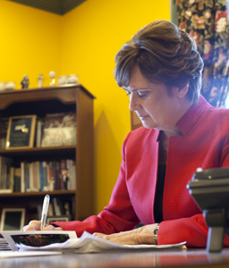 President Lynn Pasquerella '80<br>in her Mary Lyon Hall office