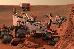 the rover's ChemCam zaps a rock with a laser.
