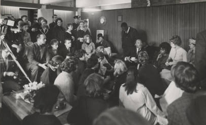 The Rev. Dr. Martin Luther King, Jr.  meets with MHC community members and townspeople in Eliot House after his campus talk on October 20, 1963.