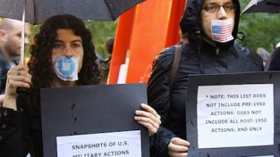 Liz Roberts '91 at an antiwar protest